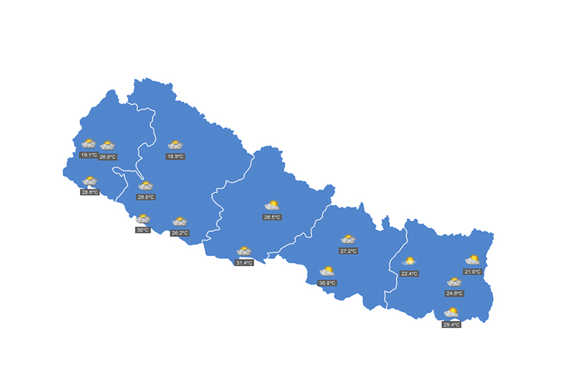 This image shows the temperature of Nepal, on Saturday, October 19, 2019. Image courtesy: MFD Nepal