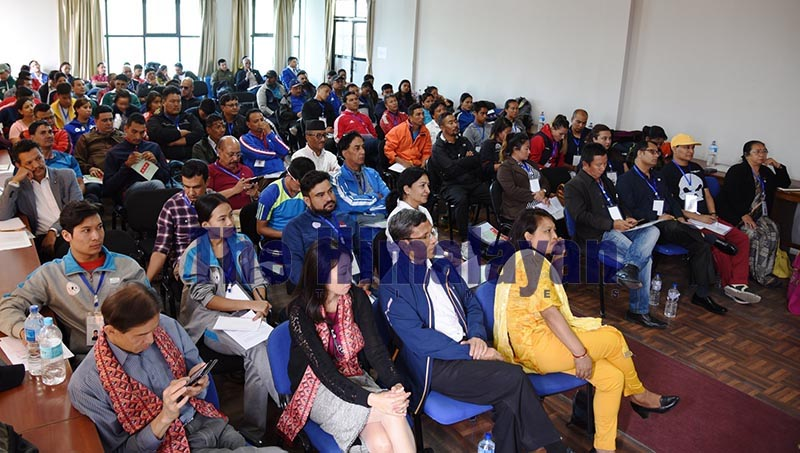 Athletes, coaches, managers and officials of various sports disciplines attend the opening session of the Winning Mindset Conference in Lalitpur on Friday, October 18, 2019. Photo: THT