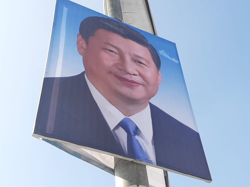 A poster of Chinese President, Xi Jinping, placed on a pole in the street, in Kathmandu, as seen on Friday, October 11, 2019. Photo: Nishant Pokhrel/THT