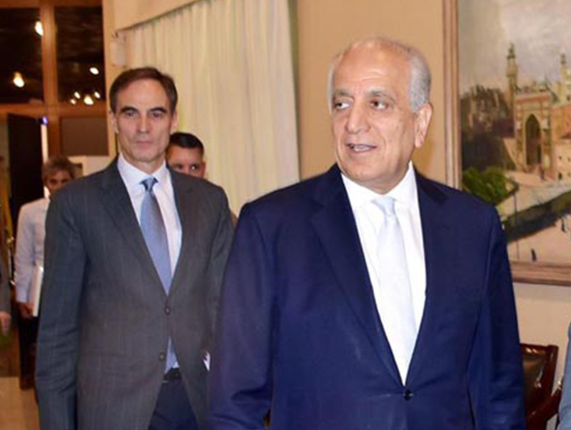 Special Representative for Afghanistan Reconciliation Zalmay Khalilzad visits the Foreign Office in Islamabad, Pakistan, on Sunday, June 2, 2019. Photo: AP
