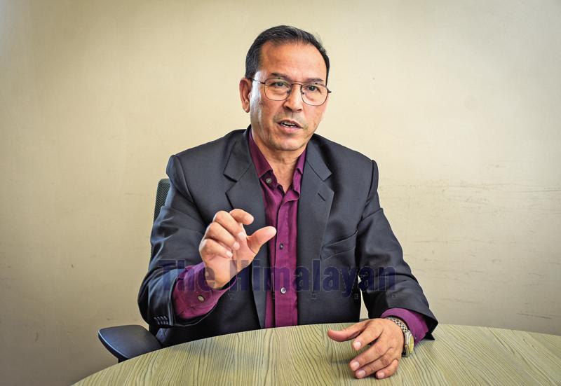 Interview with Khadga Bahadur Bisht. Photo: Naresh Krishna Shrestha/THT
