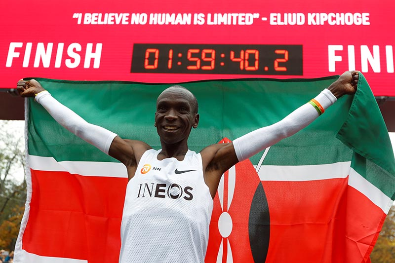 Kenya's Eliud Kipchoge, the marathon world record holder, celebrates after a successful attempt to run a marathon in under two hours in Vienna, Austria, October 12, 2019. Photo: Reuters
