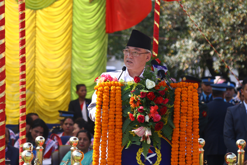 Home Minister Ram Bahadur Thapa addressing the programme to mark the 64th Nepal Police Day, in Kathmandu, on Friday, October 11, 2019. Photo: RSS