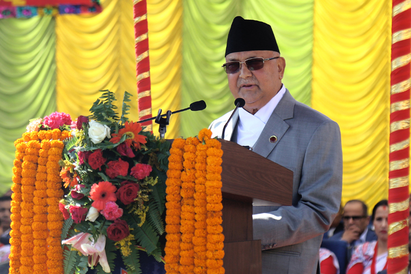 Prime Minister KP Sharma Oli addressing the programme organised on the occasion of 64th Nepal Police Day, in Kathmandu, on Friday, October 11, 2019. Photo: RSS