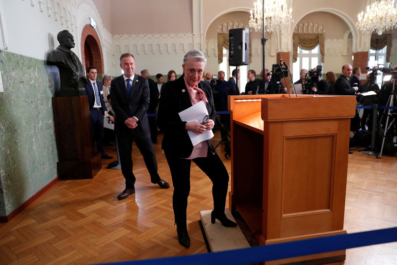 Chair of the Nobel Committee Berit Reiss-Andersen leaves after announcing Ethiopia's Prime Minister Abiy Ahmed as the Nobel Peace Prize Laureate for 2019, in Oslo, Norway October 11, 2019. Photo: Reuters