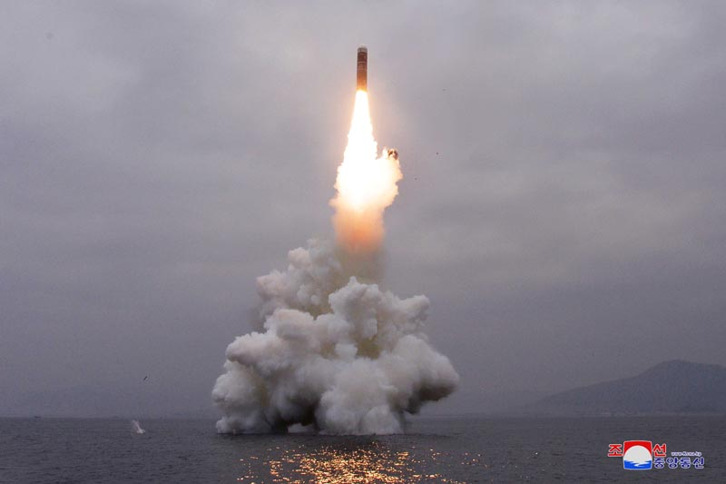 What appears to be a submarine-launched ballistic missile (SLBM) flies in an undisclosed location on October 2, 2019. Photo: KCNA via Reuters