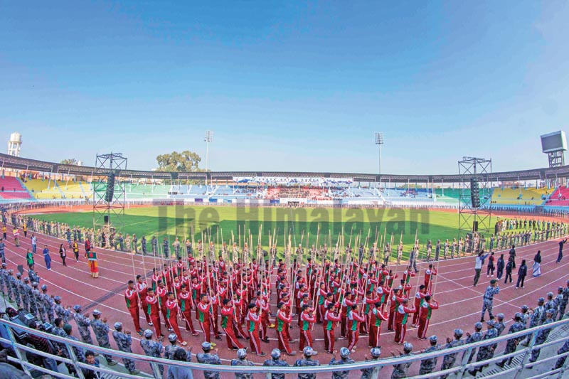 Performers rehearsing for the 13th South Asian Games at the Dasharath Stadium in Kathmandu on Tuesday, November 26, 2019. Photo: Udipt Singh Chhetry / THT