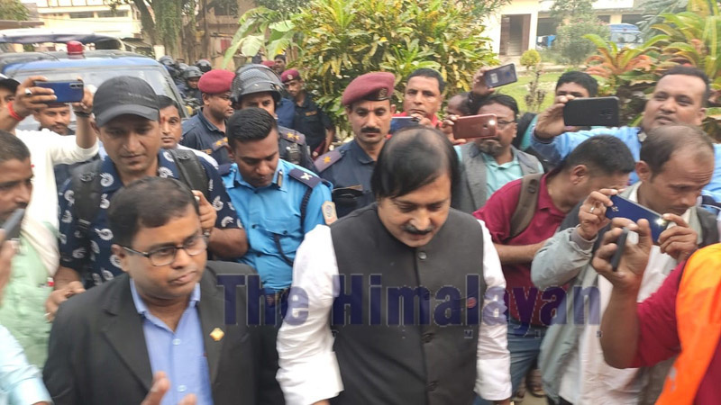 Former Member of federal parliament, Aftab Aalam, being taken to the Rautahat District Court  in Gaur on Monday, November 4, 2019. Photo: Prabhat Jha