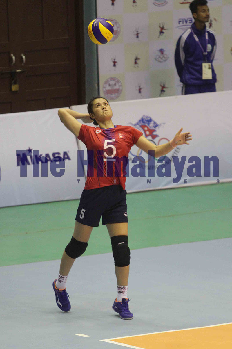 Nepal national volleyball team skipper Aruna Shahi serves against Bangladesh during the 13th South Asian Games at National Sports Council covered hall, Tripureshwor, in Kathmandu. Photo: Udipt Singh Chhetry/THT