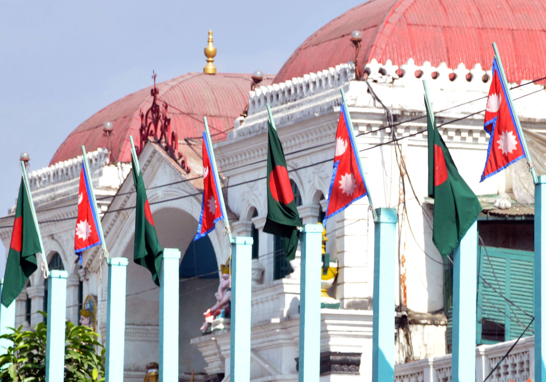 This image shows the national flags of Nepal and Bangladesh hung at the roadside poles to welcome the President of Bangladesh Mohammad Abdul Hamid, at Babarmahal in Kathmandu, on Tuesday, November 12, 2019. Photo: RSS