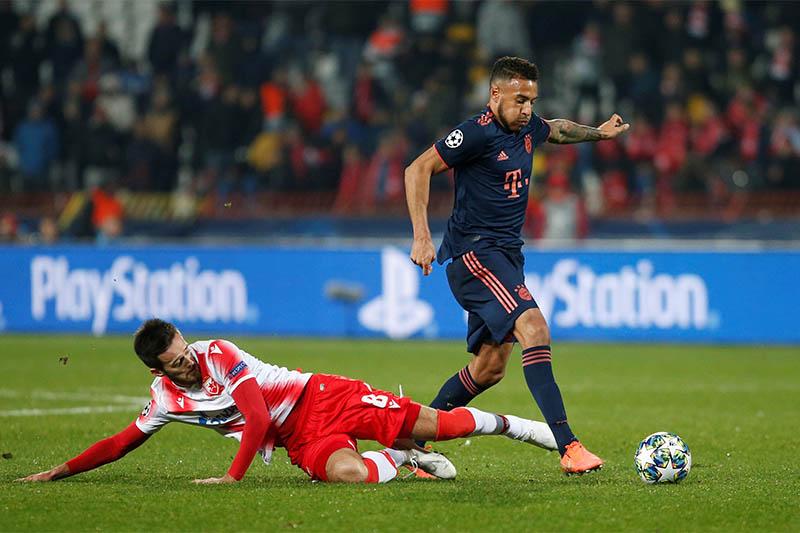 Bayern Munich's Corentin Tolisso in action with Crvena Zvezda's Mirko Ivanic. Photo: Reuters