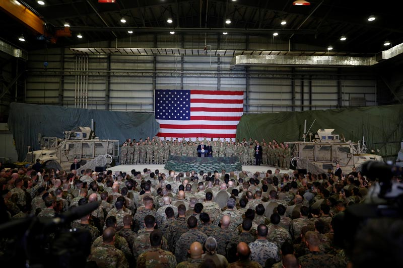 US President Donald Trump delivers remarks to US troops during an unannounced visit to Bagram Air Base, Afghanistan, November 28, 2019. Photo: Reuters