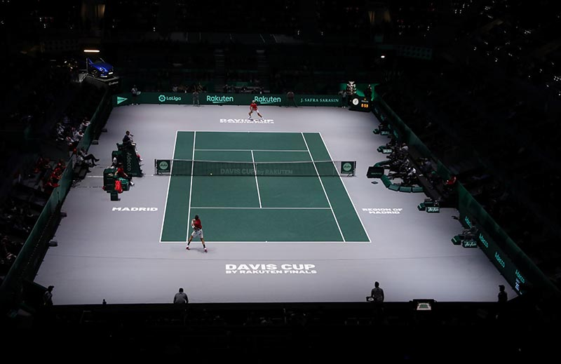 General view during the group stage match between Croatia's Borna Coric and Russia's Karen Khachanov during the Davis Cup Finals, at Caja Magica, in Madrid, Spain, on November 18, 2019. Photo: Reuters