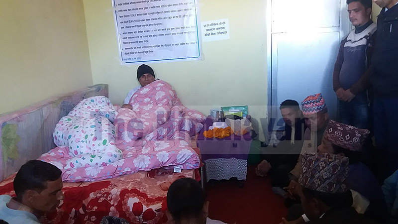 A team of Nepali Congress leaders visiting Dr Govinda KC to express their support, in Dadeldhura, on Tuesday, November 5, 2019. Photo: Baburam Shrestha/THT
