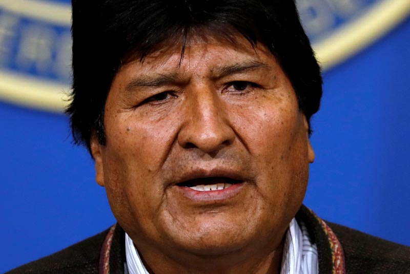 Bolivia's President Evo Morales addresses the media at the presidential hangar in the Bolivian Air Force terminal in El Alto, Bolivia, November 10, 2019. Photo: Reuters