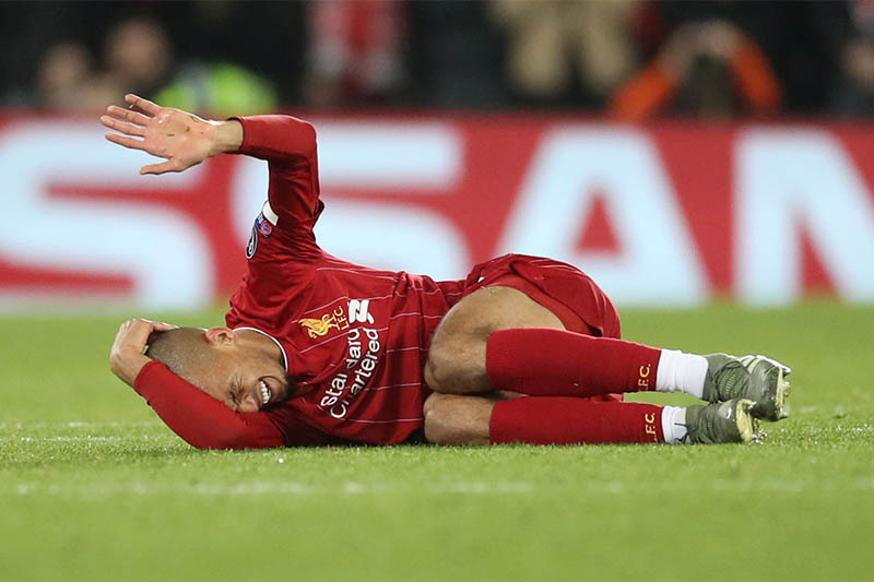 Liverpool's Fabinho reacts after sustaining an injury. Photo: Reuters