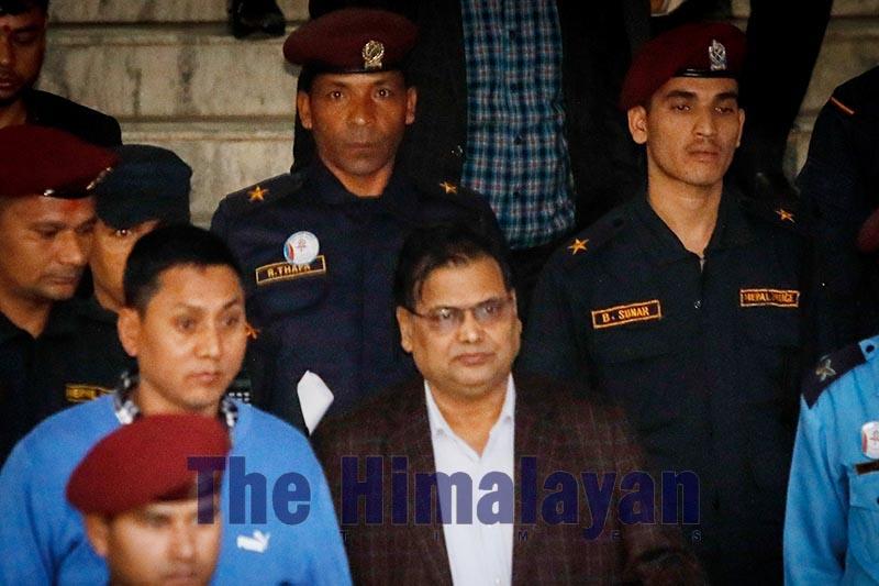 Former speaker Krishna Bahadur Mahara outside Kathmandu District Court, on Monday, November 4, 2019. Photo: Naresh Shrestha / THT