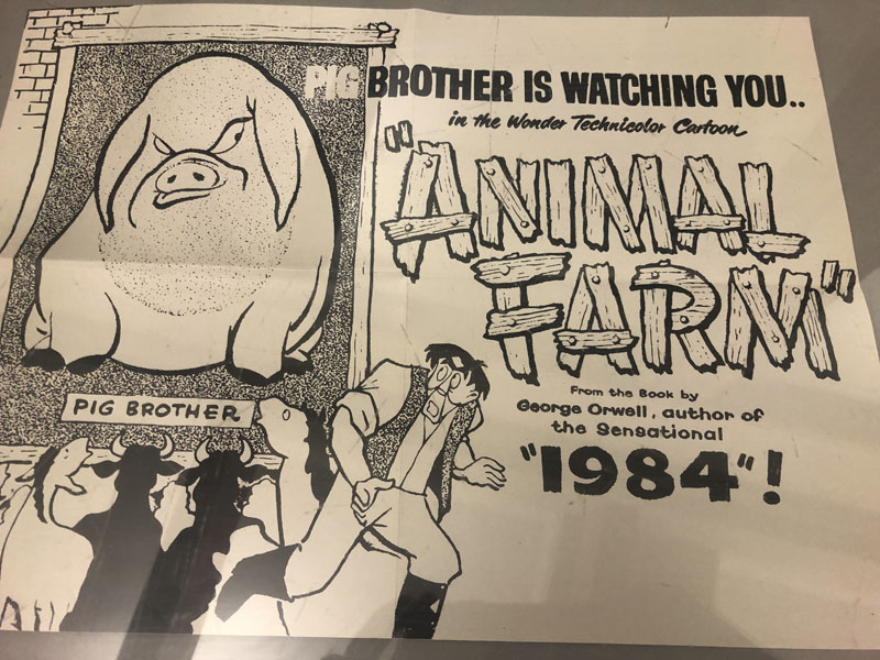 A poster promoting a cartoon version George Orwell's novel