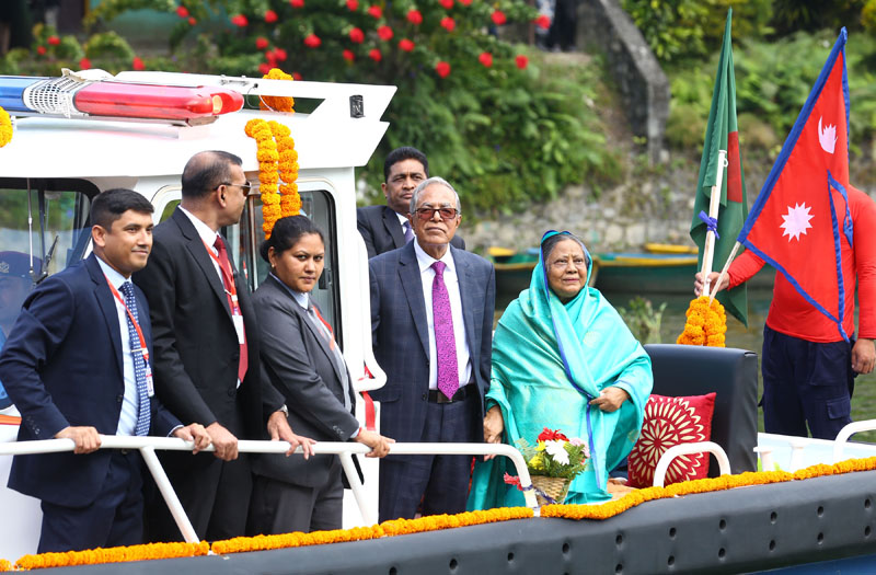 President of the People's Republic of Bangladesh, Mohammad Abdul Hamid, is seen on a boat on Phewa Lake, Pokhara, on Thursday, November 14, 2019. Photo: RSS