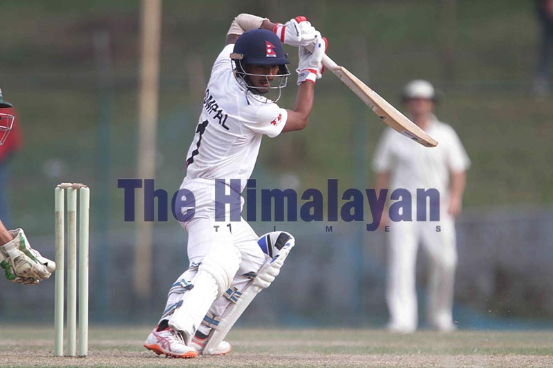 Nepalu2019s Sompal Kami plays a shot against Marylebone Cricket Club on the third and final day of their First Class match at the Tribhuvan University Stadium in Kathmandu on Friday, November 8, 2019. Photo: Udipt Singh Chhetry / THT