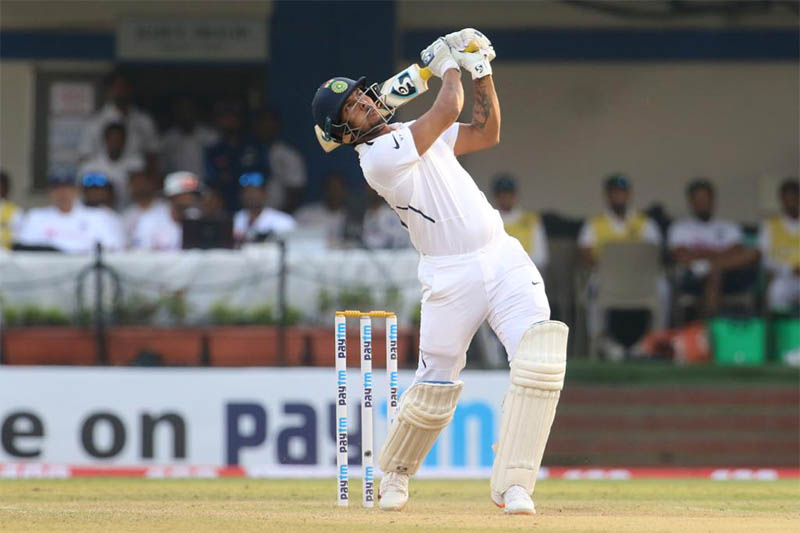 FILE - India batsman Mayank Agarwal plays a shot during 1st test match against Bangladesh at Indore, on Friday, November 15, 2019. Courtesy: ICC/Twitter