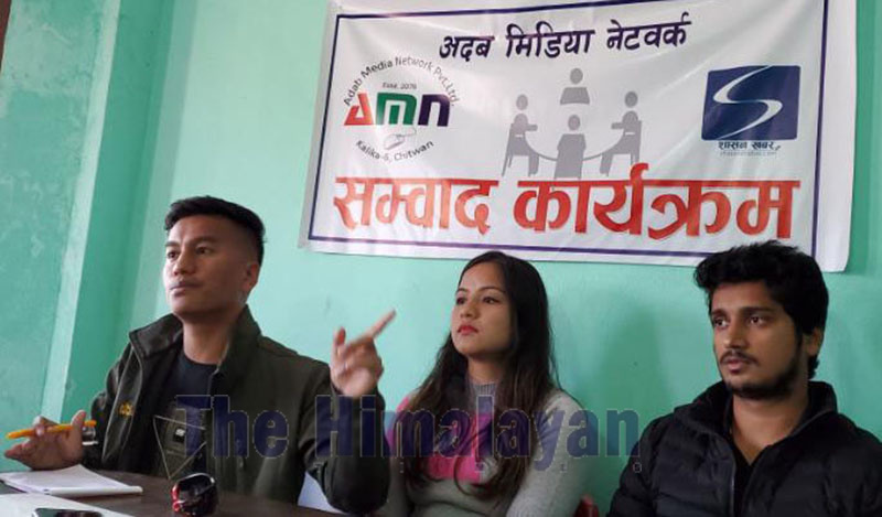 Medical Education Struggle Committee Coordinator Prakash Chand speaking at an interaction organised by Adab Media Networks in Bharatpur, Chitwan, on Saturday. Photo: THT