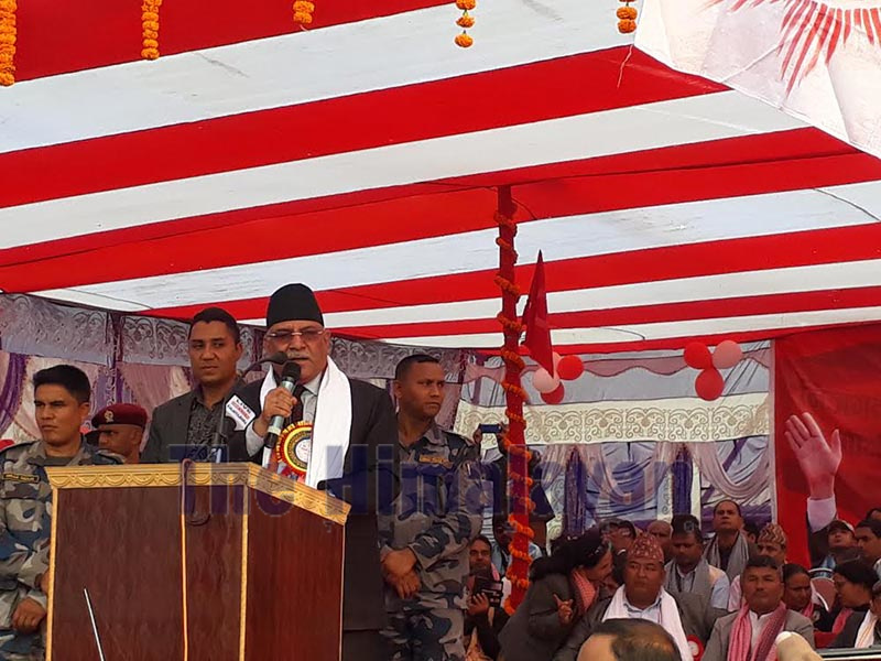 Nepal Communist Party Co-chair Pushpa Kamal Dahal addressing an election mass met in Nijgadh, Bara, on Tuesday. Photo: THT