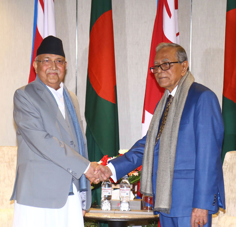 Prime Minister KP Sharma Oli with the President of the People's Republic of Bangladesh Abdul Hamid, in Kathmandu, on Wednesday, November 13, 2019. Photo: RSS