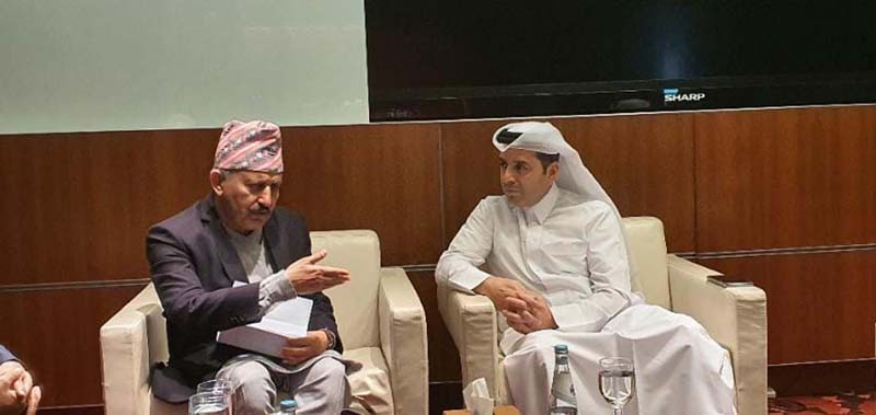 Minister for Education Girirajmani Pokharel (left) in a meeting with his Qatari counterpart Mohammad Abdul Wahed on the sidelines of the 'World Innovation Summit for Education' in Qatar, on Friday, November 22. Photo: RSS
