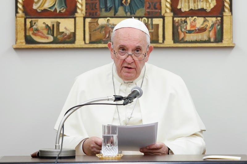 Pope Francis attends a meeting with bishops from the Vatican embassy in Tokyo, Japan, November 23, 2019. Photo: Reuters