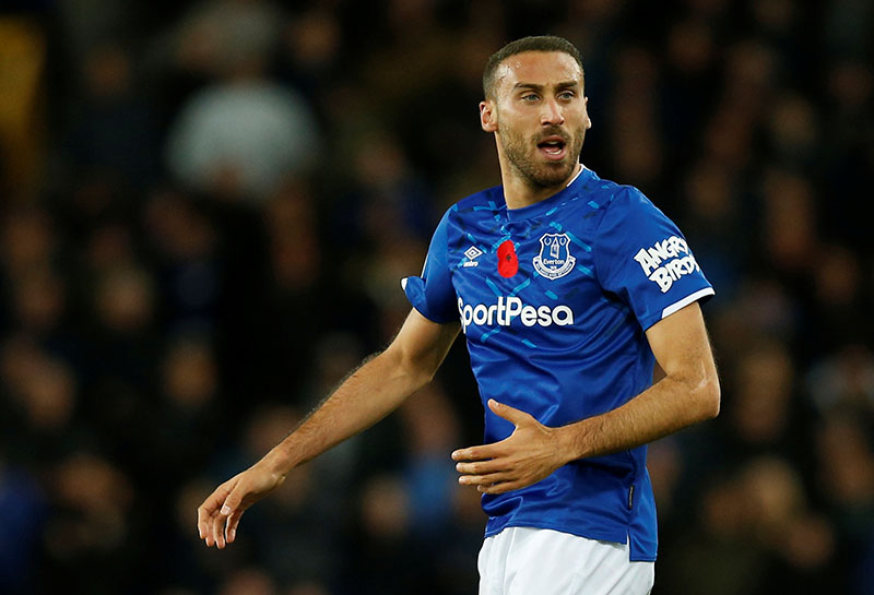 Everton's Cenk Tosun celebrates scoring their first goal during the Premier League match beween Everton and Tottenham Hotspur. at Goodison Park, in Liverpool, Britain, on November 3, 2019. Photo: Reuters
