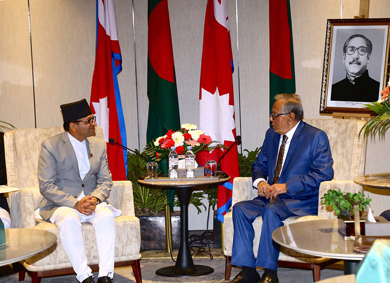 Chairman of National Assembly Ganesh Prasad Timilsina with President of the People's Republic of Bangladesh Abdul Hamid, in Kathmandu, on Wednesday, November 13, 2019. Photo: Twitter/MoFA Nepal.