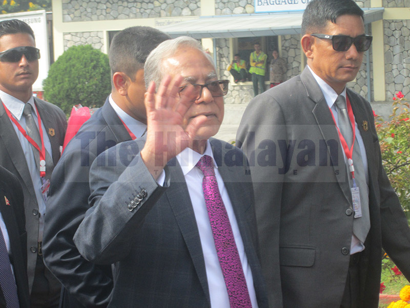 President of Bangladesh, Mohammad Abdul Hamid, gestures as he arrives in Pokhara Airport, on Thursday, November 14, 2019. Photo: Rishi Ram Baral/THT