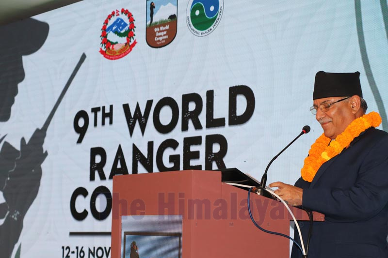 Nepal Communist Party Co-chair Pushpa Kamal Dahal addressing the 9th World Ranger Congress, in Sauraha, on Tuesday, November 12, 2019. Photo: THT
