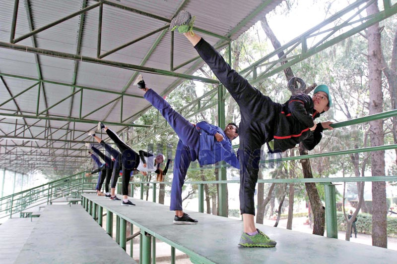 Taekwondo players attend a training session in Lalitpur on Tuesday, November 26, 2019. Photo: THT