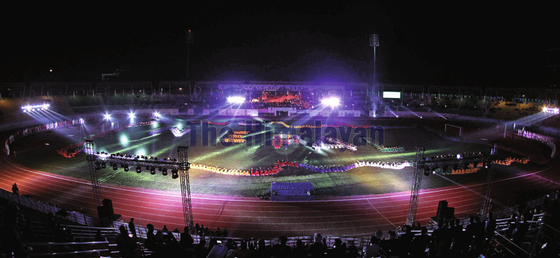 Glimpse of the grand rehearsal for the opening ceremony of the 13th South Asian Games at Dasarath Stadium, in Kathmandu on Friday. The Games is slated for December 1-10 in Kathmandu, Pokhara and Janakpur. Photo: Udipt Singh Chhetry/THT