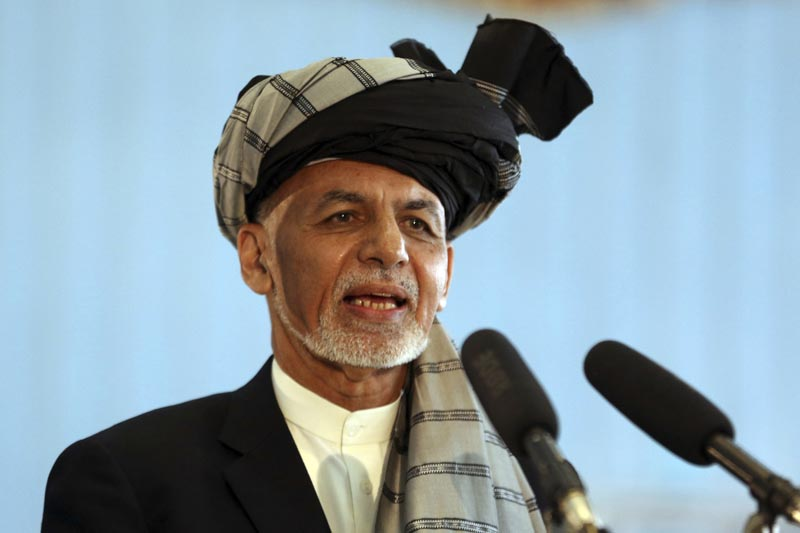 FILE - In this September 28, 2019, file photo, Afghan President Ashraf Ghani speaks to journalists after voting at Amani high school, near the presidential palace in Kabul, Afghanistan. Photo: AP