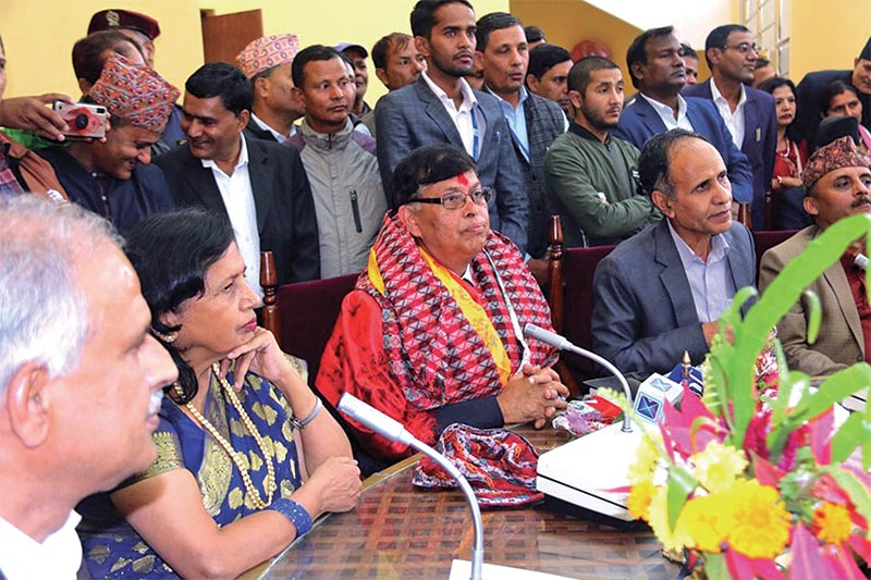 Newly appointed Vice-chancellor of Tribhuvan University Dharma Kanta Banskota addressing a meet after assuming office in Kirtipur, on Monday, November 4, 2019. Photo: RSS