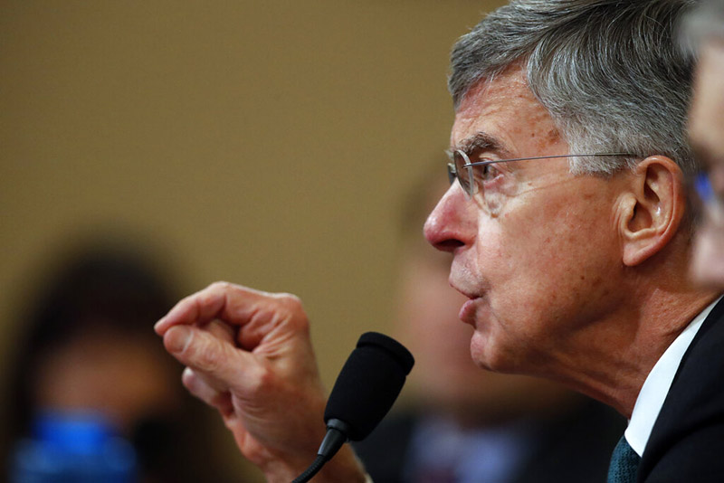 Top US diplomat in Ukraine William Taylor testifies before the House Intelligence Committee on Capitol Hill, in Washington, on Wednesday, November 13, 2019, during the first public impeachment hearing of President Donald Trump's efforts to tie US aid for Ukraine to investigations of his political opponents. Photo: AP