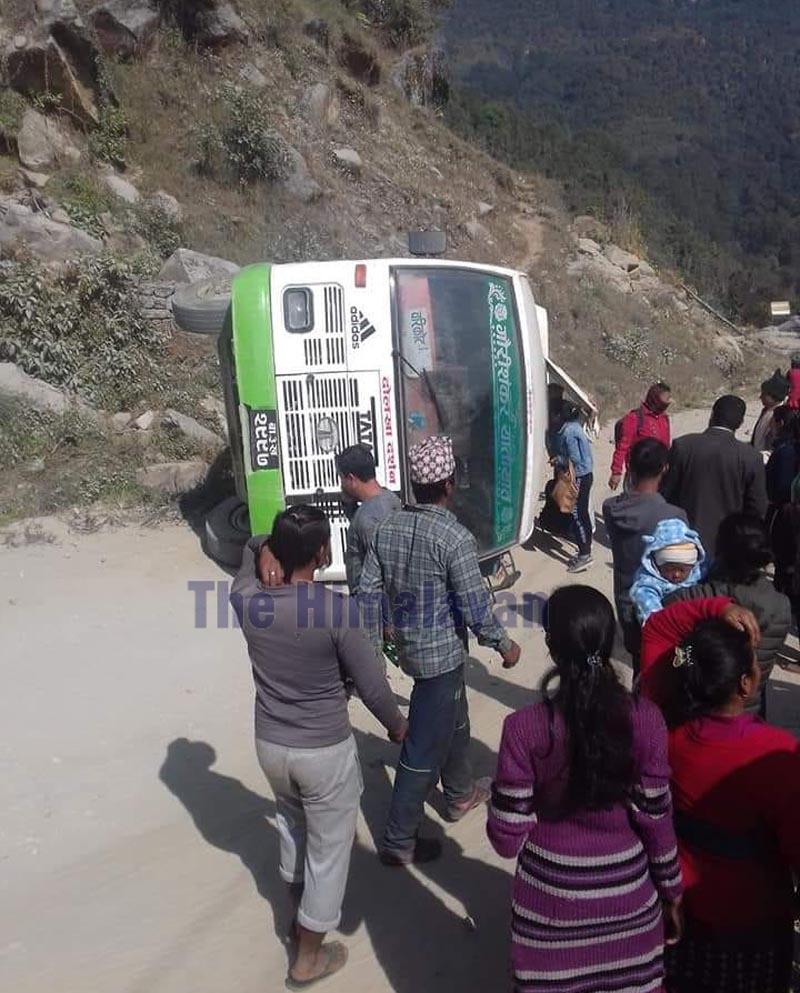 The bus at the incident spot in Bhimeshwor Municipality-8, Dolakha. Photo: Gokarna Bhandari/THT