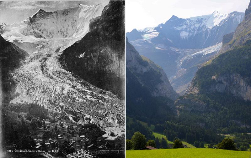 A combination picture shows the Lower Grindelwald Glacier seen in Grindelwald, Switzerland in 1865 (L) and on August 26, 2019 (R). Photo: Glaziologische Kommission der Akademie der Naturwissenschaften Schweiz/ETH Library Zurich/Handout via Reuters
