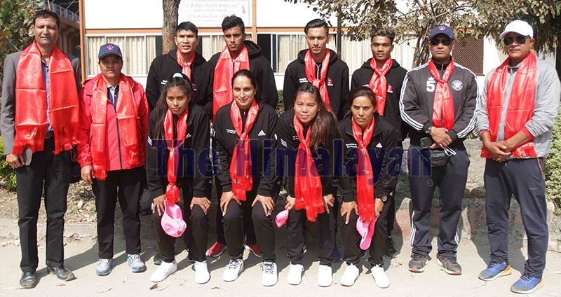 Players and officials of national menu2019s and womenu2019s beach volleyball team take group photo during their farewell to participate in closed camp as part of the preparation for the 13th SAG in Sri Lanaka at National Sports Council, Tripureshwor in Kathmandu on Saturday. Photo: THT