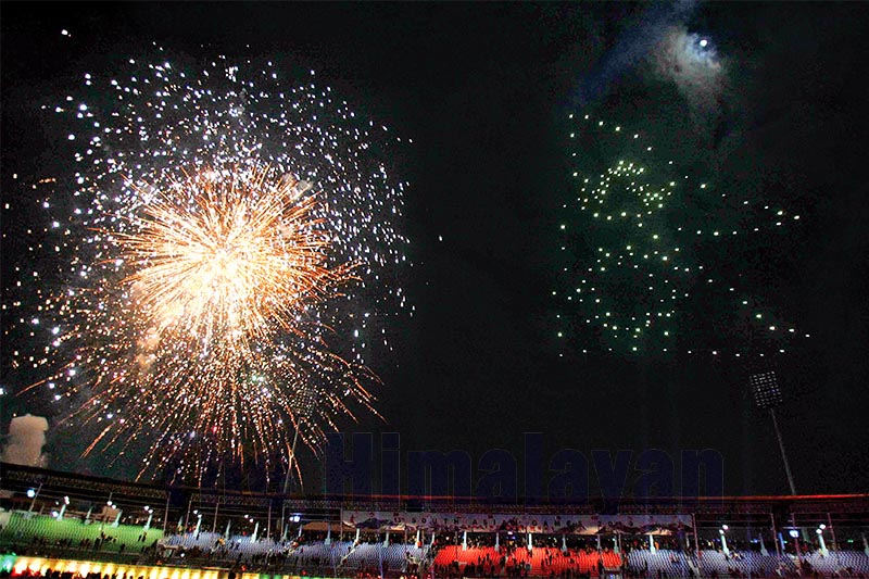 A set of 150 drones form Nepalu2019s national flag next to a firework display during the closing ceremony of the 13th South Asian Games in Kathmandu on Tuesday. Photo: Udipt Singh Chhetry/THT