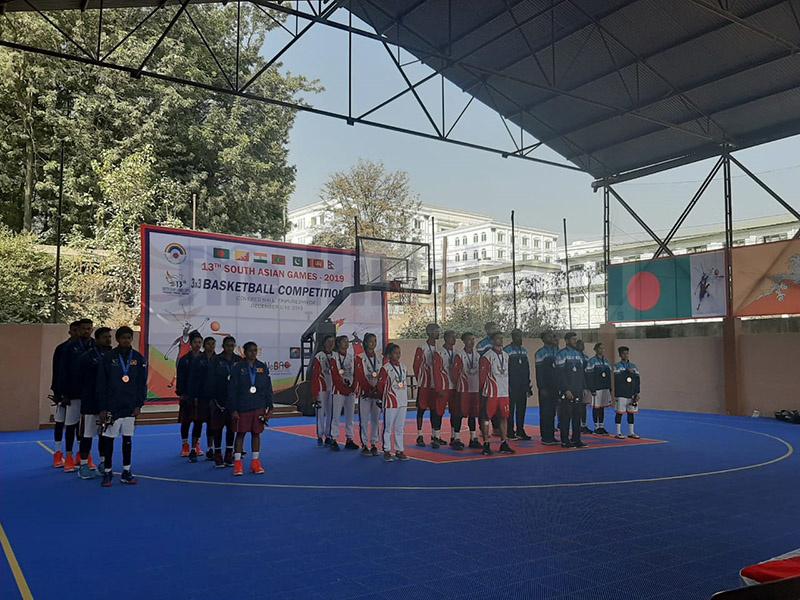 The women and men 3x3 basketball teams of Nepal, India and Sri Lanka. Photo: Nishant Pokhrel/THT
