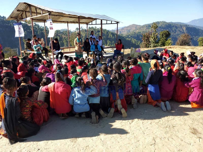 Teenagers participating at the health camp related to sexual and reproductive health, at Chaurmandau Primary Health Centre, in Chaurpati Rural Municipality of Achham district. Photo: Prakash Singh/THT