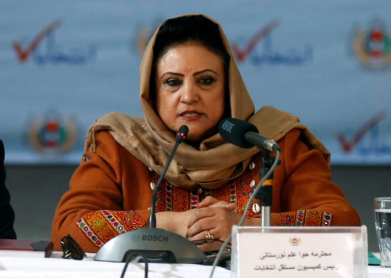 Hawa Alam Nuristani, head of the Independent Election Commission of Afghanistan (IEC) speaks during the announcement of preliminary presidential election results in Kabul, Afghanistan December 22, 2019.REUTERS/Mohammad Ismail