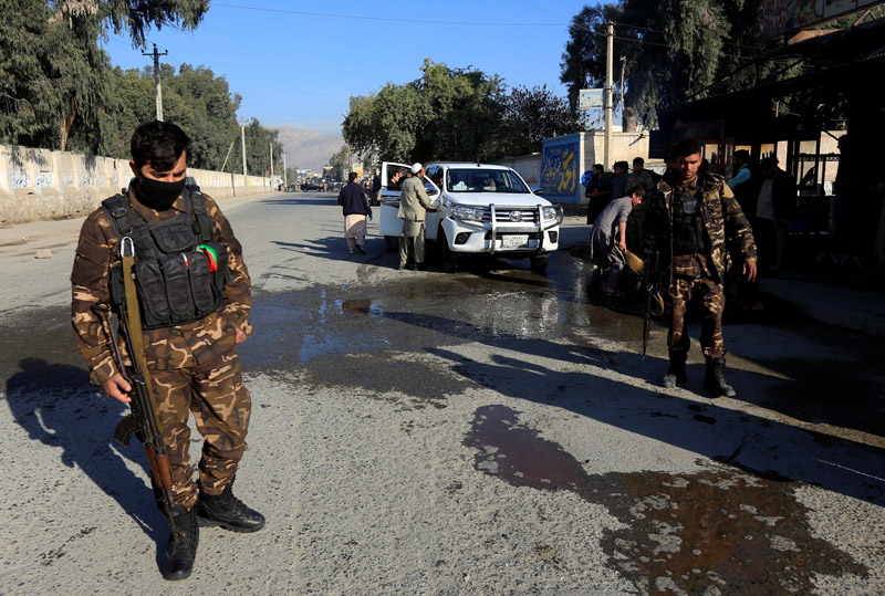 Afghan security forces inspect the site of an attack on a vehicle carrying Japanese doctor Tetsu Nakamura, in Jalalabad, Afghanistan, December 4, 2019. Photo: Reuters