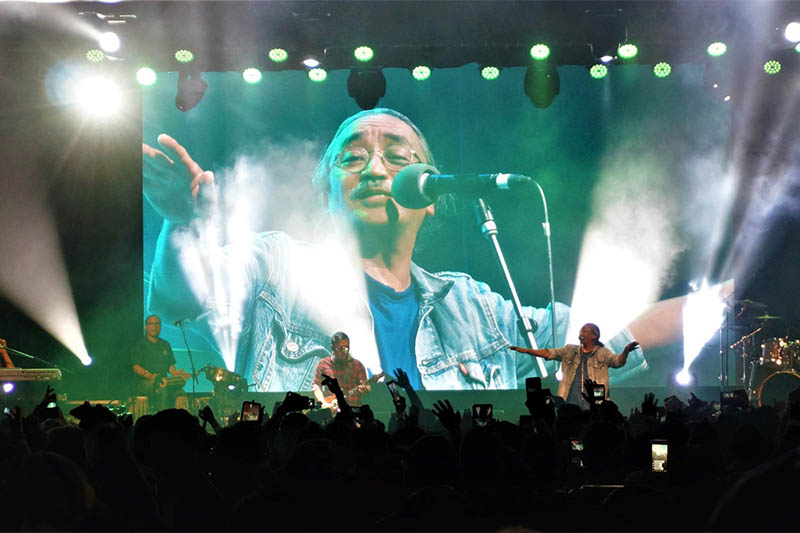 Nepathya band's lead singer Amrit Gurung performs during a live concert in Hobart. Courtesy: Trijan Bajracharya
