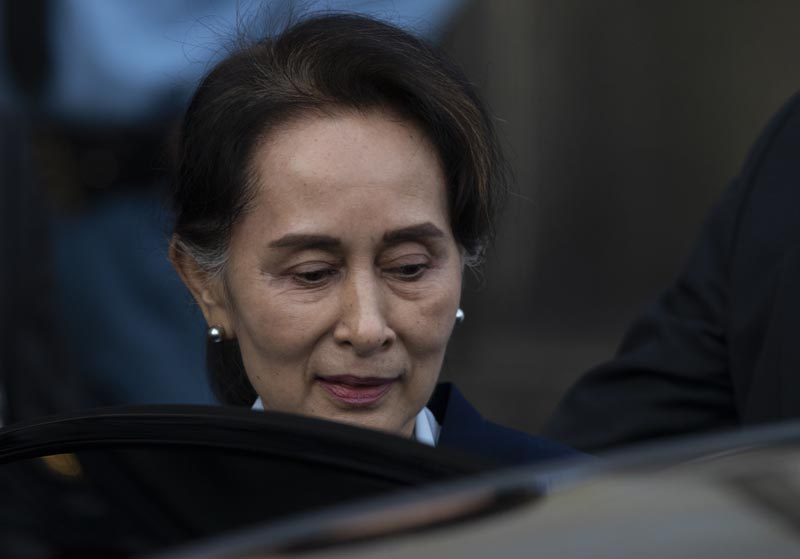 Myanmar's leader Aung San Suu Kyi leaves the International Court of Justice after addressing judges on the second day of three days of hearings in The Hague, Netherlands, Wednesday, December 11, 2019. Photo: AP