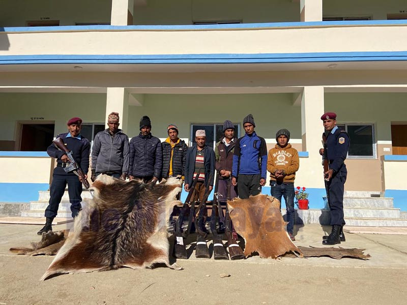 Police making public seven persons arrested for illegal possession of firearms and rare animal hides, at District Police Office, Bajura, on Thursday, December 26, 2019. Photo: Prakash Singh/ THT